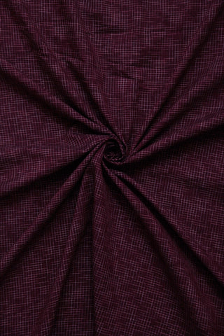 Maroon Checkered Handwoven Cotton Fabric