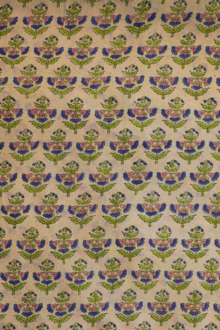 Light Beige with Pink Floral Chanderi Silk Cotton Fabric