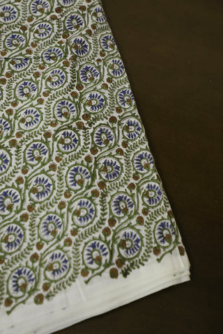 Green with Brown Small Floral Mul Cotton Fabric