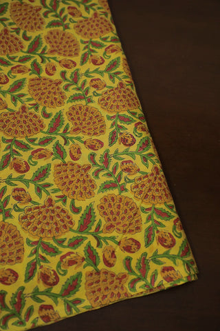 Yellow with Green Floral Block Printed Mul Cotton Fabric
