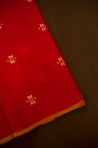 Red Intricate Buta Jamdani Cotton Fabric