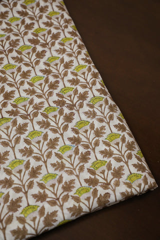 Brown with Yellow Block Printed Sanganeri Mul Cotton Fabric
