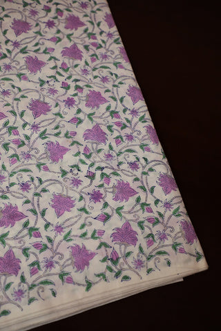 Off White with Lavender Floral Block Printed Mul Cotton Fabric