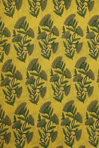 Yellow with Shades of Green Floral Mul Cotton Fabric