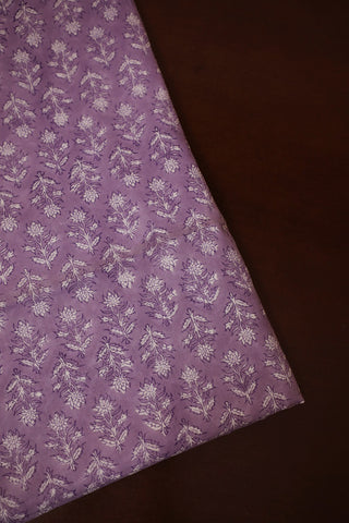 Light Lavender Floral Block Printed Mul Cotton Fabric