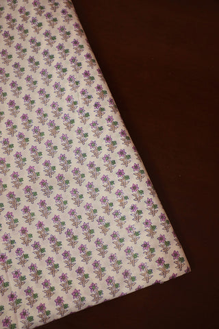 Off White with Purple Small Floral Mul Cotton Fabric