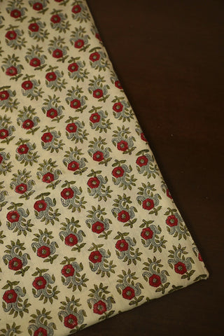 Beige with Red Flowers Block Printed Mul Cotton Fabric