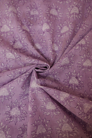 Lavender With White Floral Block Printed Mul Cotton Fabric