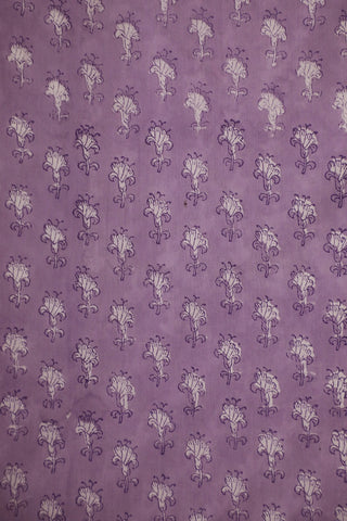 Light Lavender Small Floral Block Printed Mul Cotton Fabric