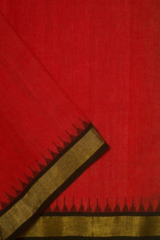 Subdued Red with Temple Kuppadam Zari Border Fabric