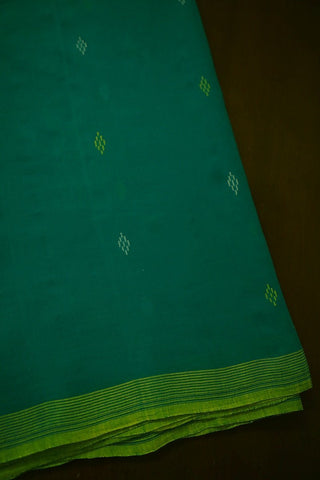 Subdued Greenish Blue Bengal Jamdani Cotton Fabric - 2 m