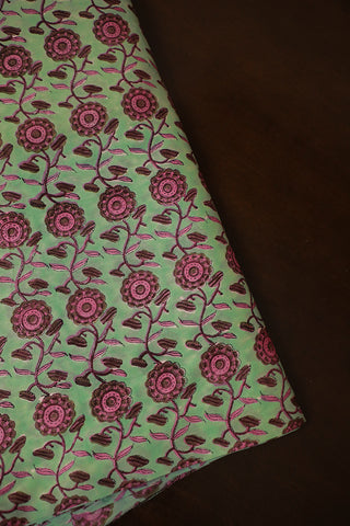 Light Green with Pink Floral Chanderi Silk Cotton Fabric
