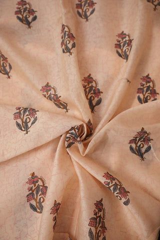 Pink and Grey Floral Chanderi Silk Cotton Fabric