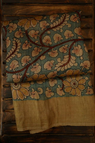 Peacock in Greyish Blue Tussar Silk Kalamkari Saree