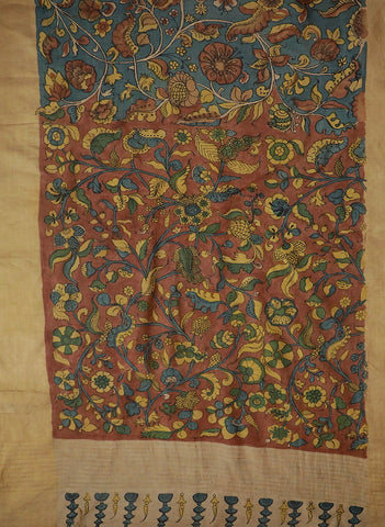 Blue Floral Hand Painted Kalamkari Tussar Silk Saree