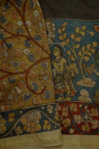 Dark Grey Village Theme Hand Painted Chanderi Kalamkari Saree