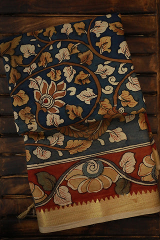 Hand Painted Mangalagiri Cotton Kalamkari Saree