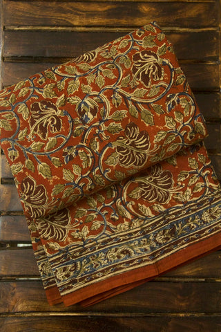 Rust Red Floral Block Printed Kalamkari Saree