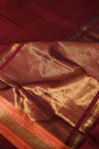 Double Shaded Maroon Handwoven Mangalagiri Cotton Saree