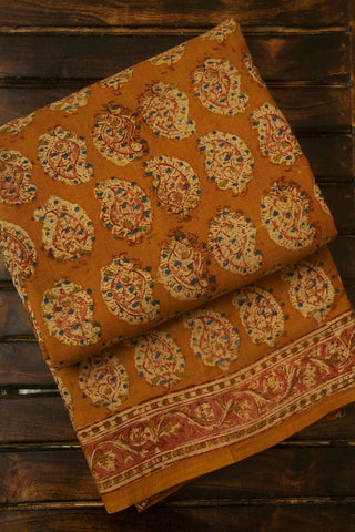 Peach Paisley Block Printed Kalamkari Saree