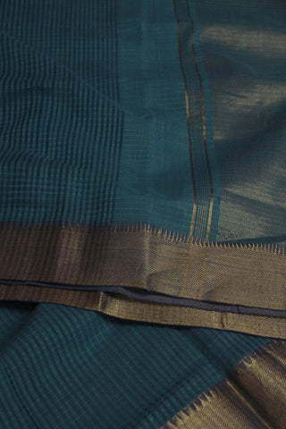 Double Shade Blue Missing Checks Handwoven Mangalagiri Cotton Saree