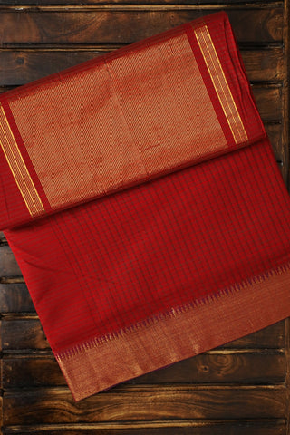 Maroon with Temple Border Handwoven Mangalagiri Cotton Saree