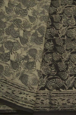 Black with Grey Peepal Leaves Block Printed Kalamkari Saree