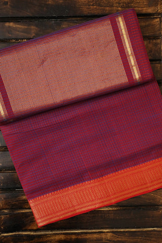 Purplish Maroon Handwoven Mangalagiri Cotton Saree