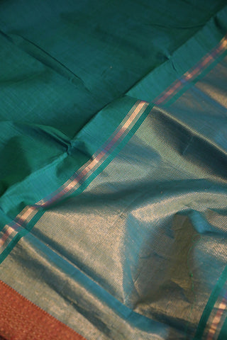 Subdued Green Handwoven Mangalagiri Cotton Saree