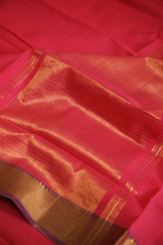 Pink with Lavender Missing Weaves Handwoven Mangalagiri Cotton Saree