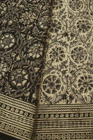 Off White with Black Floral Block Printed Kalamkari Saree
