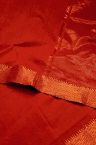 Brick Red Handwoven Mangalagiri Cotton Saree