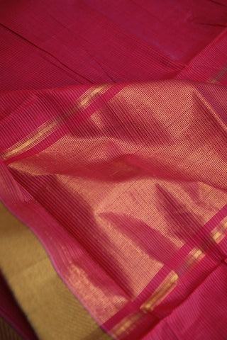 Lotus Pink with Missing Weaves Handwoven Mangalagiri Cotton Saree