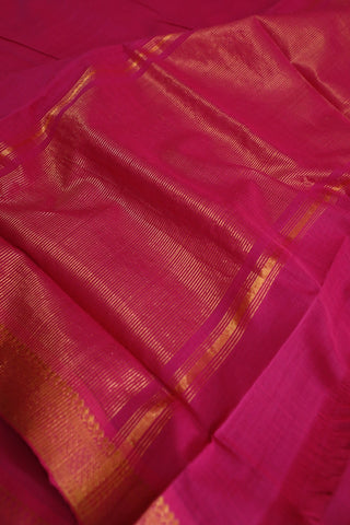 Magenta Pink with Traditional Border Mangalagiri Cotton Saree