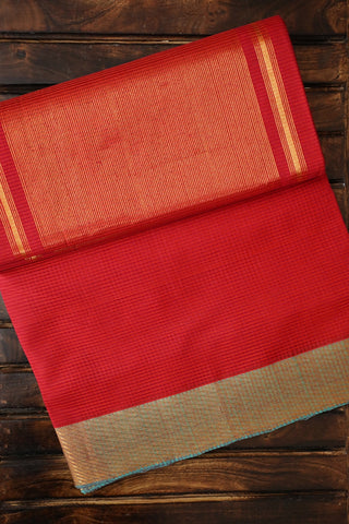 Pinkish Orange with Missing Weaves Handwoven Mangalagiri Cotton Saree