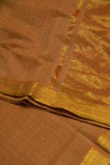 Double Shade Brown Handwoven Mangalagiri Cotton Saree