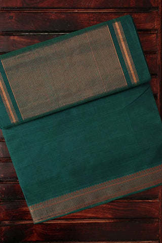 Moss Green with Traditional Border Handwoven Mangalagiri Cotton Saree