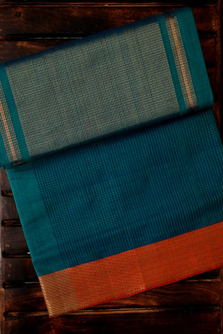 Double Shaded Blue Handwoven Mangalagiri Cotton Saree