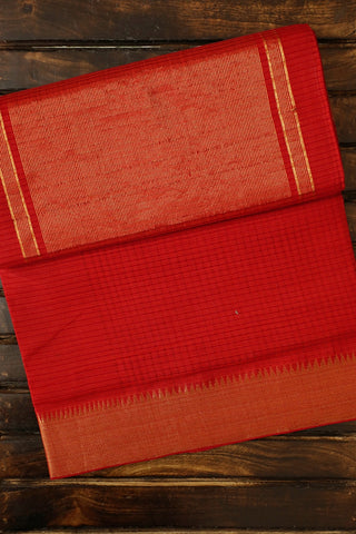 Reddish Orange with Big Temple Border Handwoven Mangalagiri Cotton Saree