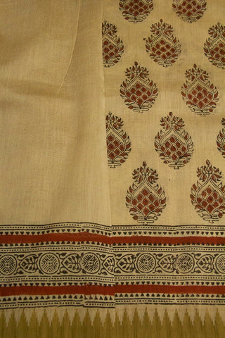Beige with Brick Red Block Printed Chanderi Saree