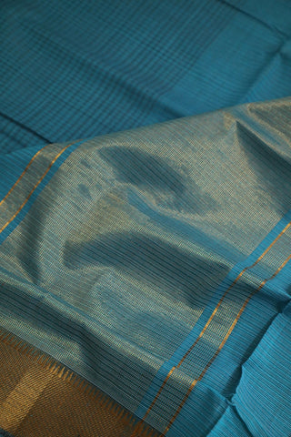 Sky Blue with Missing Weaves Handwoven Mangalagiri Cotton Saree