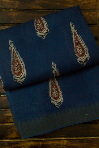 Faded Blue with Brown Leaf Block Printed Chanderi Saree