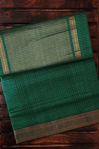 Dark Green with Missing Weaves Handwoven Mangalagiri Cotton Saree