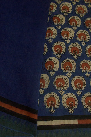 Blue with Small Temple Border Block Printed Chanderi Saree