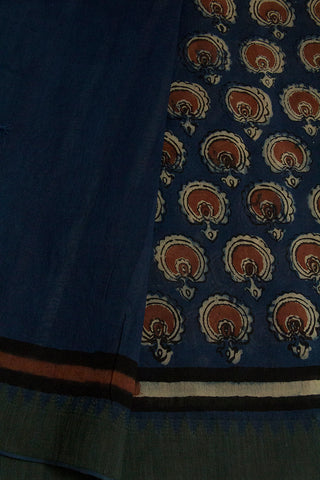 Indigo Blue with Big Ghicha Temple Border Chanderi Saree