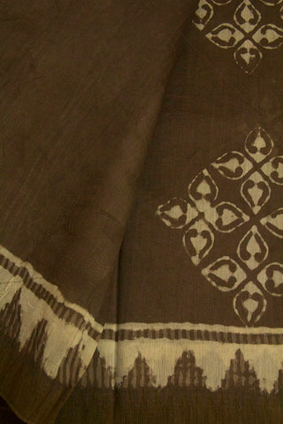 Grey with Small Ghicha Temple Border Block Printed Chanderi Saree