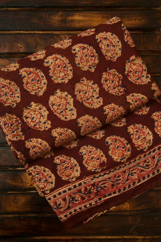 Brownish Maroon with Peach Block Printed Kalamkari Saree