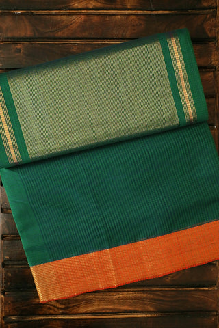 Green with Orange Zari Border Mangalagiri Cotton Saree