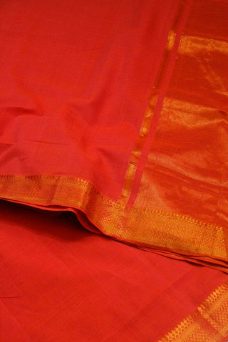 Orangish Peach Traditional Border Mangalagiri Saree