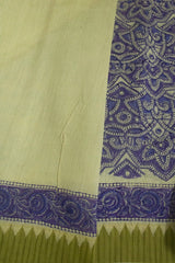 Shaded of Blue with Off White Block Printed Chanderi Saree